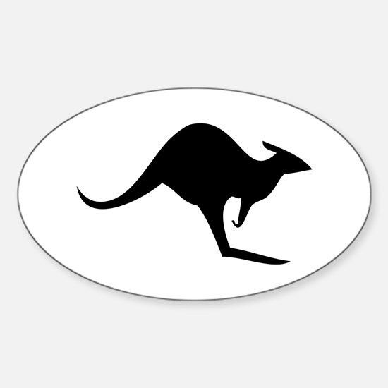 australian kangaroo black log Oval Stickers