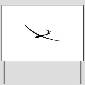 black glider logo sailplane Yard Sign