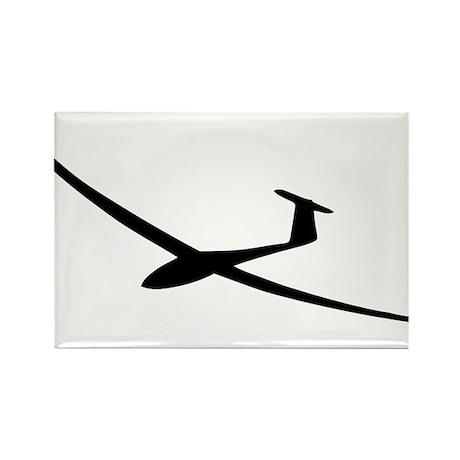 black glider logo sailplane Rectangle Magnet (10 p