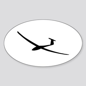 black glider logo sailplane Oval Sticker