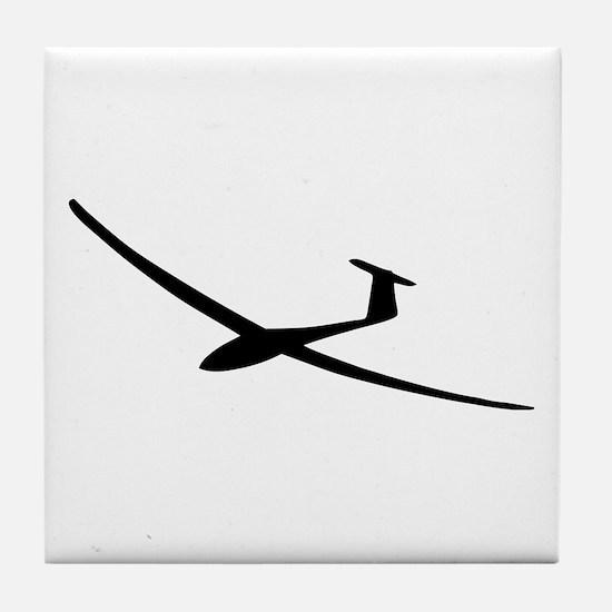 black glider logo sailplane Tile Coaster