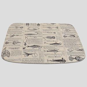 Fishing Lures Vintage Antique Newsprint Bathmat