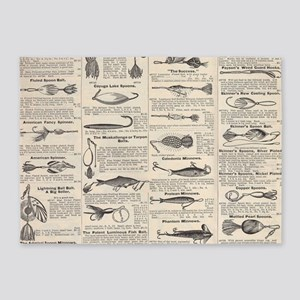 Fishing Lures Vintage Antique Newsp 5'x7'Area Rug