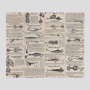 Fishing Lures Vintage Antique Newspr Throw Blanket
