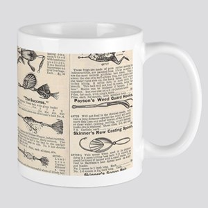 Fishing Lures Vintage Antique Newsprint Trave Mugs