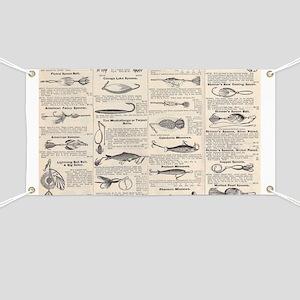 Fishing Lures Vintage Antique Newsprint Banner