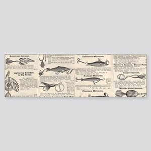 Fishing Lures Vintage Antique Newsp Bumper Sticker
