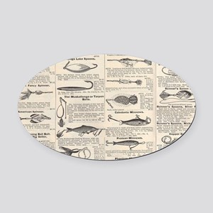 Fishing Lures Vintage Antique News Oval Car Magnet