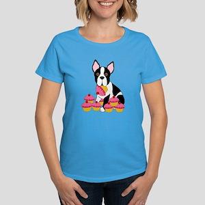 Boston Terrier with Cupcakes Women's Dark T-Shirt