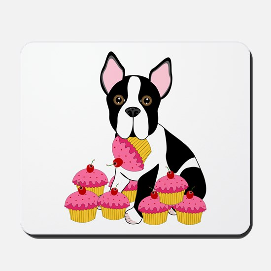 Boston Terrier with Cupcakes Mousepad
