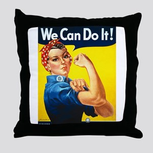 Vintage Rosie the Riveter Throw Pillow