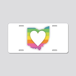 Ohio Rainbow Heart Aluminum License Plate