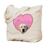 Yellow Lab Heart Dog Tote Bag