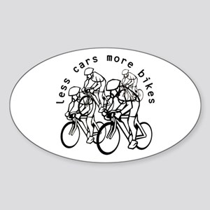 Less cars more bikes v2 Oval Sticker