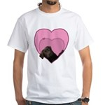 Chocolate Lab Heart Dog White T-Shirt