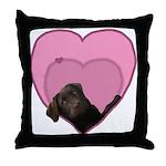 Chocolate Lab Heart Dog Throw Pillow