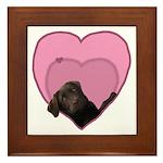 Chocolate Lab Heart Dog Framed Tile
