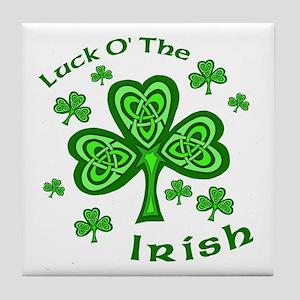 Irish Luck Shamrocks Tile Coaster