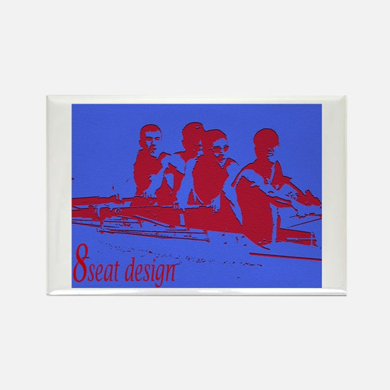 blue red rowers Rectangle Magnet