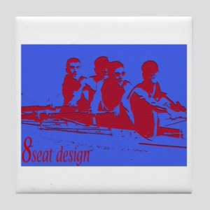 blue red rowers Tile Coaster