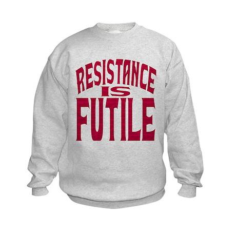 Resistance is Futile (red text) Kids Sweatshirt