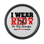 I Wear Red Grandpa Large Wall Clock