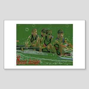 green rowers Rectangle Sticker 10 pk)