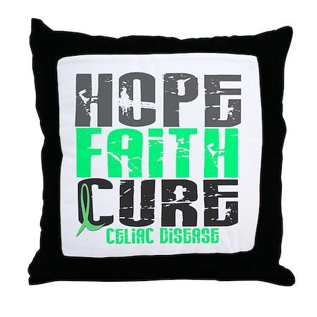 HOPE FAITH CURE Celiac Disease Throw Pillow