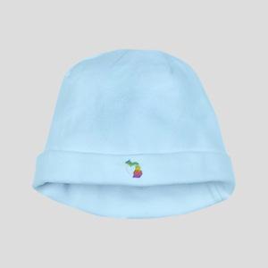 Michigan Rainbow Heart Baby Hat