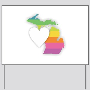 Michigan Rainbow Heart Yard Sign