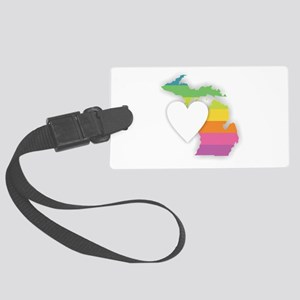 Michigan Rainbow Heart Large Luggage Tag