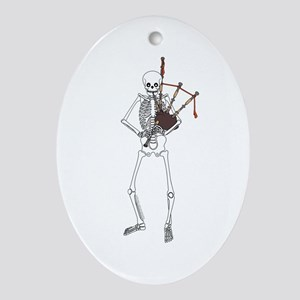Bagpipes Playing Skeleton Ornament (Oval)