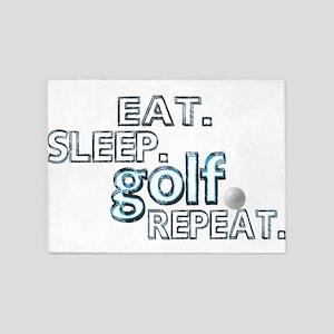 EAT SLEEP golf REPEAT 5'x7'Area Rug