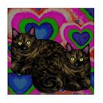 TORTOISESHELL CATS BE MY VALENTINE Tile Coaster