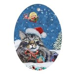 Christmas Maine Coon Cat Oval Ornament