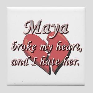 Maya broke my heart and I hate her Tile Coaster