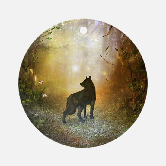 The lonely wolf in the night Round Ornament