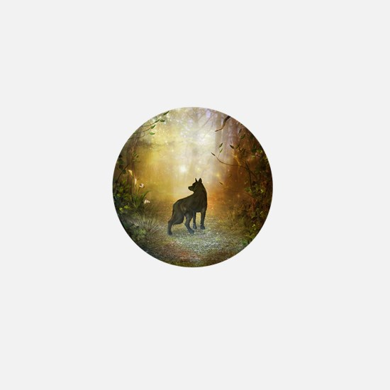 The lonely wolf in the night Mini Button