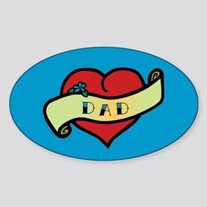 Dad Tattoo Heart Oval Sticker