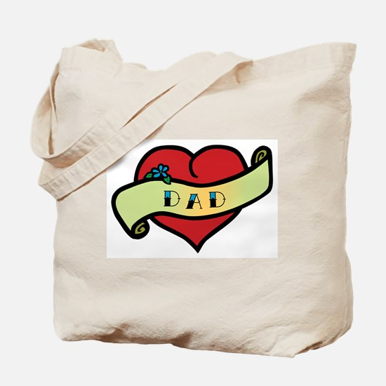 Dad Tattoo Heart Tote Bag