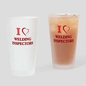 I love Welding Inspectors Drinking Glass