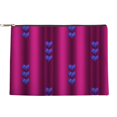 Purple and Pink Glitter Hearts Makeup Bag