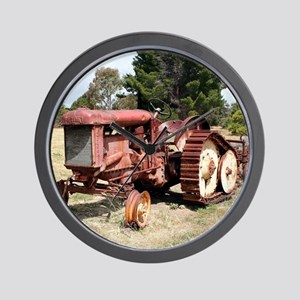 Old rusty tractor in the country Wall Clock
