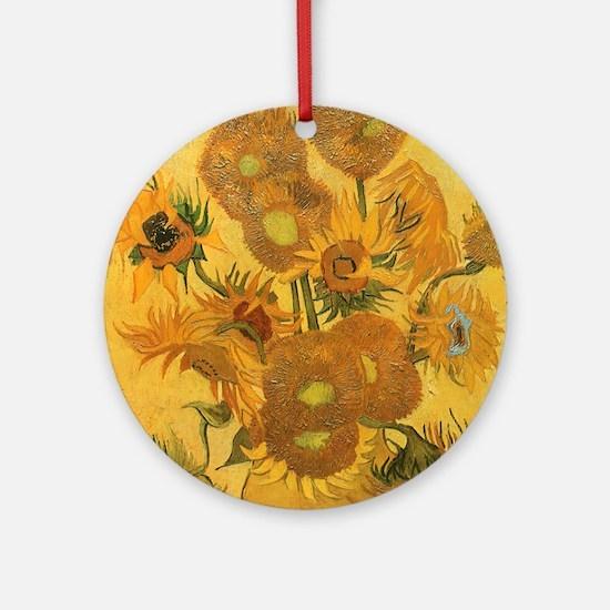 Van Gogh Vase w Sunflowers Ornament (Round)