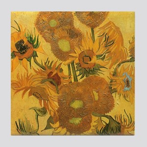 Van Gogh Vase w Sunflowers Tile Coaster