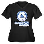Recycled Scot Women's Plus Size V-Neck Dark T-Shir