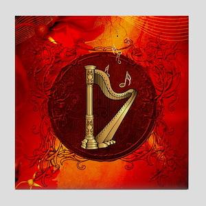 Music, golden hapr on red vintage background Tile
