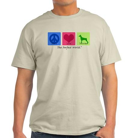 Peace Love Doberman Light T-Shirt