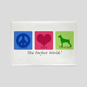 Peace Love Doberman Rectangle Magnet