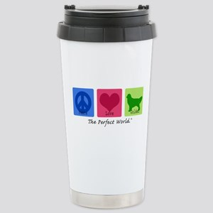 Peace Love Golden Stainless Steel Travel Mug